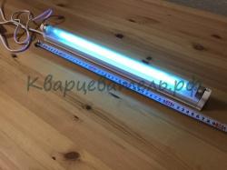 Бактерицидная кварцевая ультрафиолетовая лампа G13 TUV - 15w с озоном против вируса и бактерий + светильник + включатель (Мощная - длина 46 см)